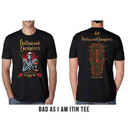 Hollywood Vampires Unisex Tee: Bad As I Am 2018 Dates Back (Ex Tour/Back Print)
