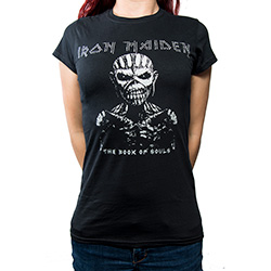 Iron Maiden Ladies Fashion Tee: The Book of Souls with Rhinestone Application