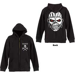 Iron Maiden Unisex Zipped Hoodie: Eddie Axe (Back Print)