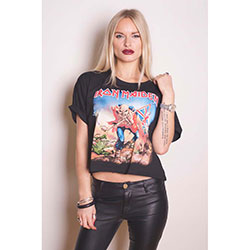 Iron Maiden Ladies Fashion Tee: Trooper with Boxy Styling and Puff Printing