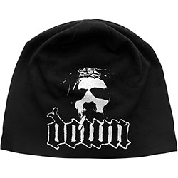 Down Beanie Hat: Logo/Face (Discharge Print)