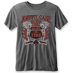Johnny Cash Men's Fashion Tee: Ring of Fire (Burn Out)
