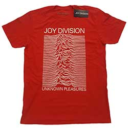 Joy Division Unisex Tee: Unknown Pleasures White On Red