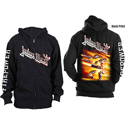 Judas Priest Unisex Zipped Hoodie: Firepower (Back Print)