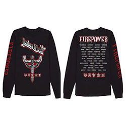 Judas Priest Unisex Long Sleeved Tee: Emblem City 2018 Firepower Tour (Ex Tour/Back Print)
