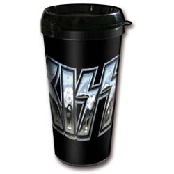 KISS Travel Mug: Chrome Logo (Plastic Body)