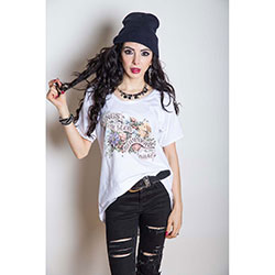 Kings of Leon Ladies Fashion Tee: Flowers with Cut-outs