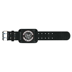 Motorhead Leather Wrist Strap: Biker Badge