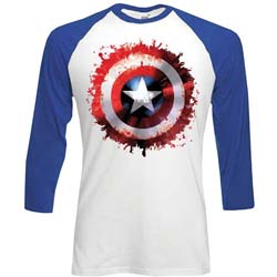 Marvel Comics Men's Raglan Tee: Captain America Splat