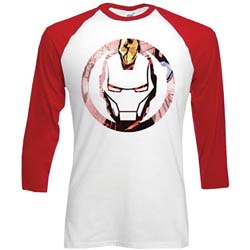 Marvel Comics Unisex Raglan Tee: Iron Man Knock Out Circle