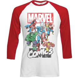Marvel Comics Men's Raglan Tee: Marvel Montage