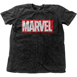 Marvel Comics Unisex Fashion Tee: Vintage Logo with Snow Wash Finishing
