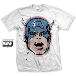 Marvel Comics Unisex Tee: Captain America Big Head Distressed