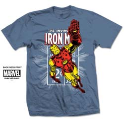 Marvel Comics Unisex Tee: Iron Man Stamp