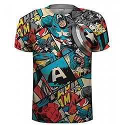 Marvel Comics Men's Tee: Captain America Comic Strip (Sublimation Print)