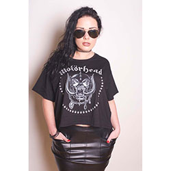 Motorhead Ladies Fashion Tee: Skulls & Aces with Boxy Styling and Glitter Print Application