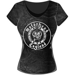 Motorhead Ladies Fashion Tee: England Seal with Acid Wash Finish