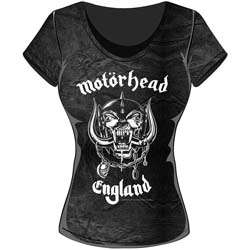 Motorhead Ladies Fashion Tee: England with Acid Wash Finish