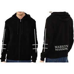 Marilyn Manson Unisex Zipped Hoodie: Cross Logo (Ex Tour/Back Print)