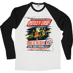 Motley Crue Unisex Raglan Tee: Shout at the Devil Tour Poster