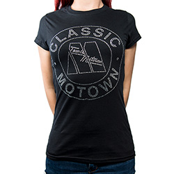 Motown Ladies Fashion Tee: Classic with Rhinestone Application