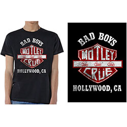 Motley Crue Unisex Tee: Bad Boys Shield