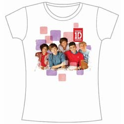 One Direction Ladies Tee: 1D Squares Group with Skinny Fitting