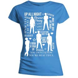 One Direction Ladies Tee: Silhouette Lyrics White on Blue (Skinny Fit)