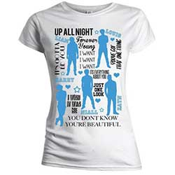 One Direction Ladies Tee: Silhouette Lyrics Blue on White (Skinny Fit)