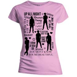 One Direction Ladies Tee: Silhouette Lyrics Black on Pink (Skinny Fit)