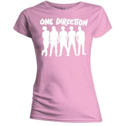 One Direction Ladies Tee: Silhouette White on Pink (Skinny Fit)