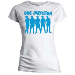 One Direction Ladies Tee: Silhouette Blue on White (Skinny Fit)