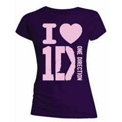 One Direction Ladies Tee: I Love (Skinny Fit)