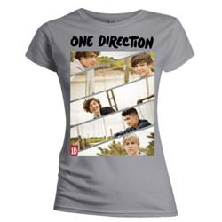 One Direction Ladies Tee: Band Sliced (Skinny Fit)