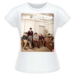 One Direction Ladies Tee: Band Lounge Colour (Skinny Fit)