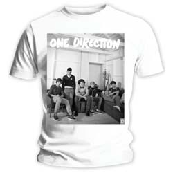 One Direction Ladies Tee: Band Lounge Black & White (Skinny Fit)