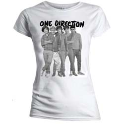 One Direction Ladies Tee: Group Standing Black & White (Skinny Fit)
