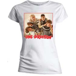 One Direction Ladies Tee: Band Red Border (Skinny Fit)