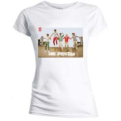 One Direction Ladies Tee: Band Jump (Skinny Fit)