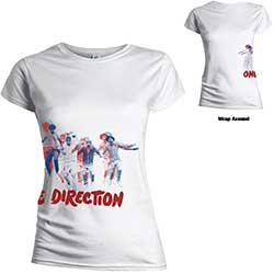 One Direction Ladies Tee: Band Jump (Wrap-around/Skinny Fit/Back Print)