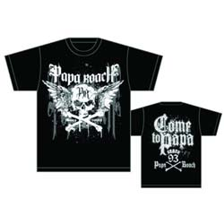 Papa Roach Men's Tee: Crossbones Drips (Back Print)