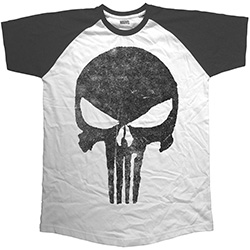 Marvel Comics Men's Raglan Tee: Punisher Jagged Skull