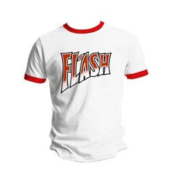 Queen Men's Tee: Flash White & Red Ringer