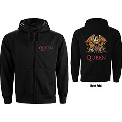 Queen Men's Zipped Hoodie: Classic Crest (Back Print)