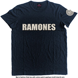 Ramones Men's Fashion Tee: Logo & Presidential Seal (Applique Motifs)