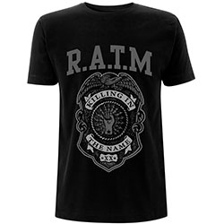 Rage Against The Machine Unisex Tee: Grey Police Badge