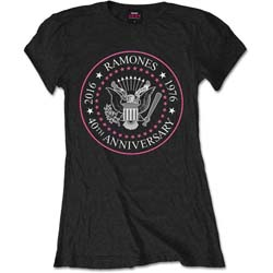 Ramones Ladies Premium Tee: 40th Anniversary Pink Seal