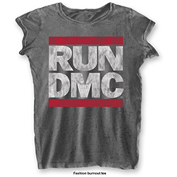 Run DMC Ladies Fashion Tee: DMC Logo (Burn Out)