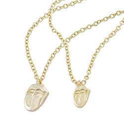 The Rolling Stones Necklace & Bracelet Set: Gold Tongue