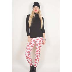 The Rolling Stones Ladies Fashion Leggings: Classic Tongue Repeat